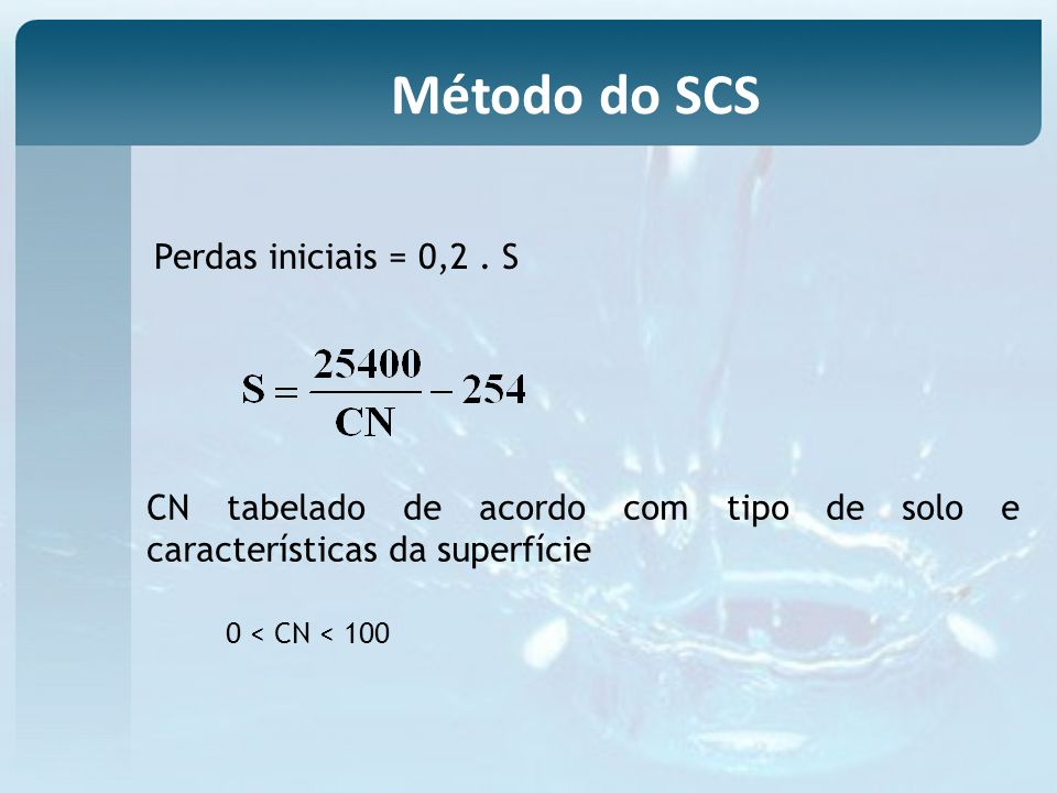 Método do SCS Perdas iniciais = 0,2 . S