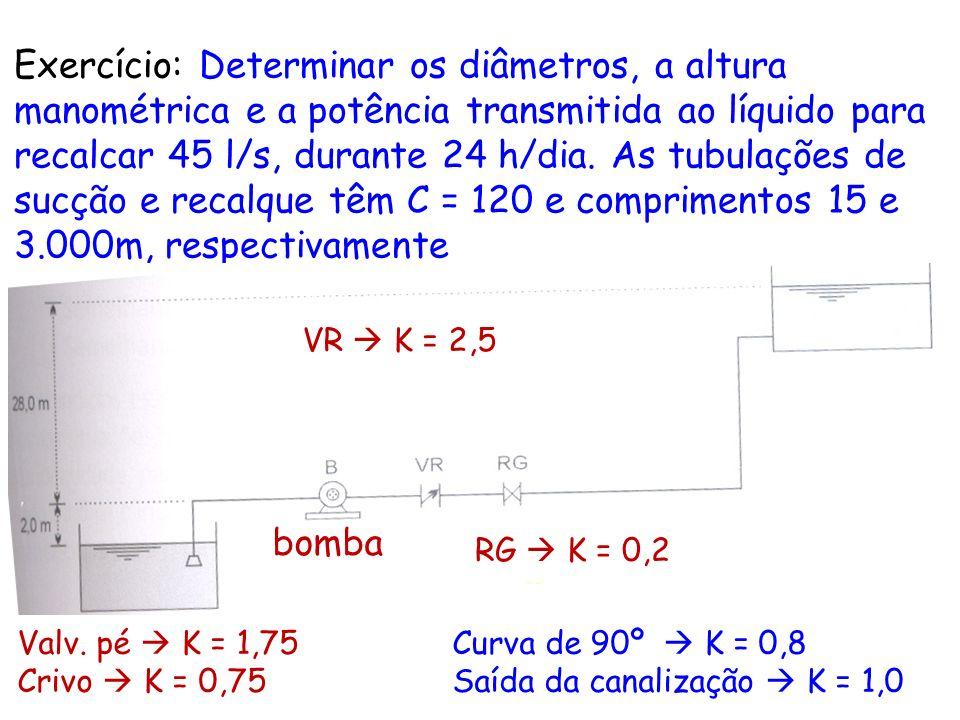 Exercício: Determinar os diâmetros, a altura manométrica e a potência transmitida ao líquido para recalcar 45 l/s, durante 24 h/dia. As tubulações de sucção e recalque têm C = 120 e comprimentos 15 e 3.000m, respectivamente