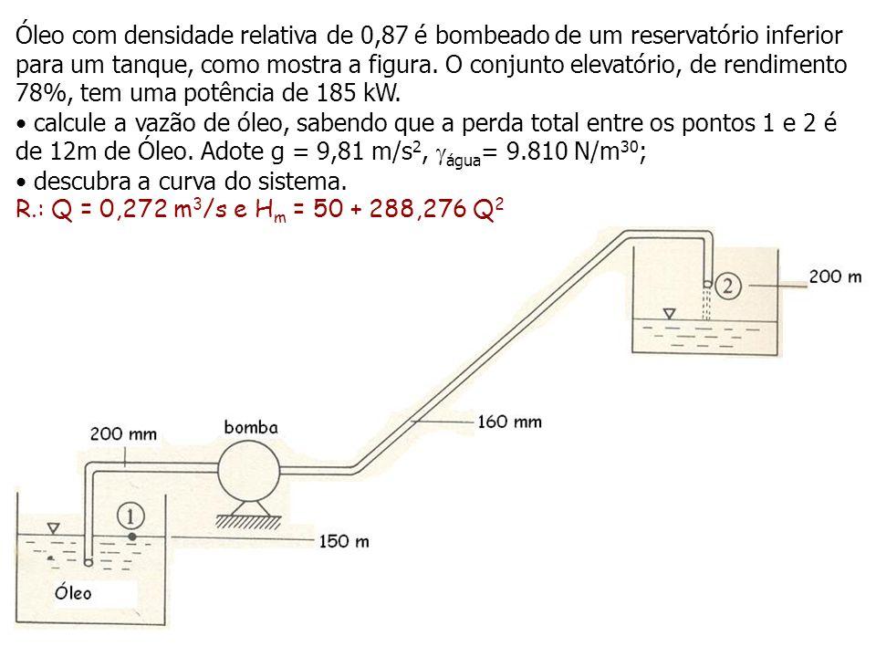 Óleo com densidade relativa de 0,87 é bombeado de um reservatório inferior para um tanque, como mostra a figura. O conjunto elevatório, de rendimento 78%, tem uma potência de 185 kW.