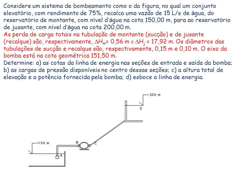 Considere um sistema de bombeamento como o da figura, no qual um conjunto elevatório, com rendimento de 75%, recalca uma vazão de 15 L/s de água, do reservatório de montante, com nível d'água na cota 150,00 m, para ao reservatório de jusante, com nível d'água na cota 200,00 m.