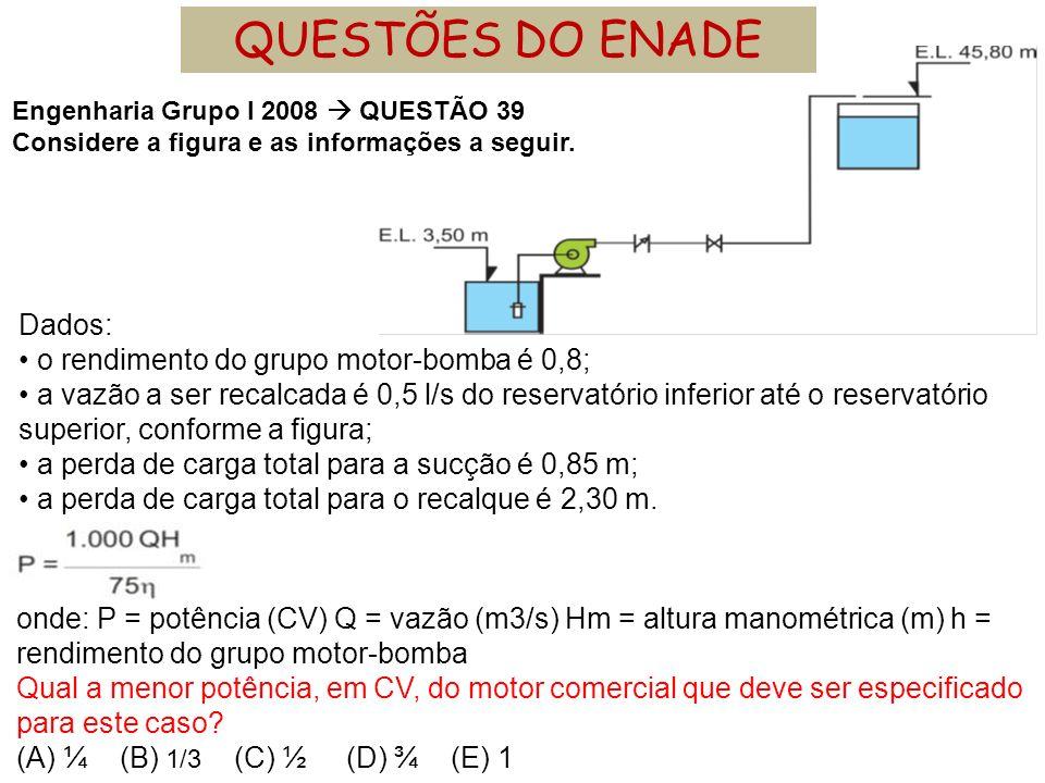 QUESTÕES DO ENADE Dados: • o rendimento do grupo motor-bomba é 0,8;