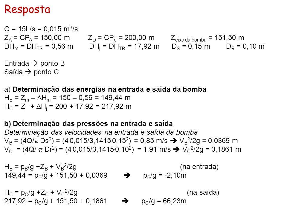 Resposta Q = 15L/s = 0,015 m3/s. ZA = CPA = 150,00 m ZD = CPd = 200,00 m Zeixo da bomba = 151,50 m.