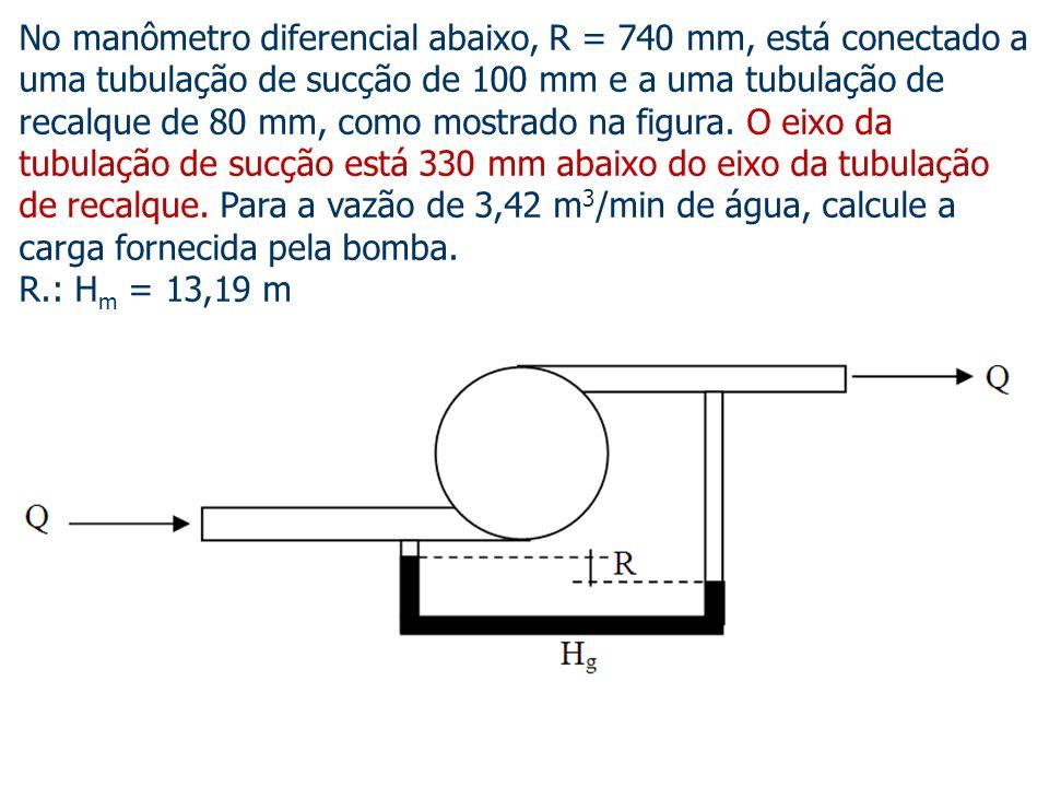 No manômetro diferencial abaixo, R = 740 mm, está conectado a uma tubulação de sucção de 100 mm e a uma tubulação de recalque de 80 mm, como mostrado na figura. O eixo da tubulação de sucção está 330 mm abaixo do eixo da tubulação de recalque. Para a vazão de 3,42 m3/min de água, calcule a carga fornecida pela bomba.