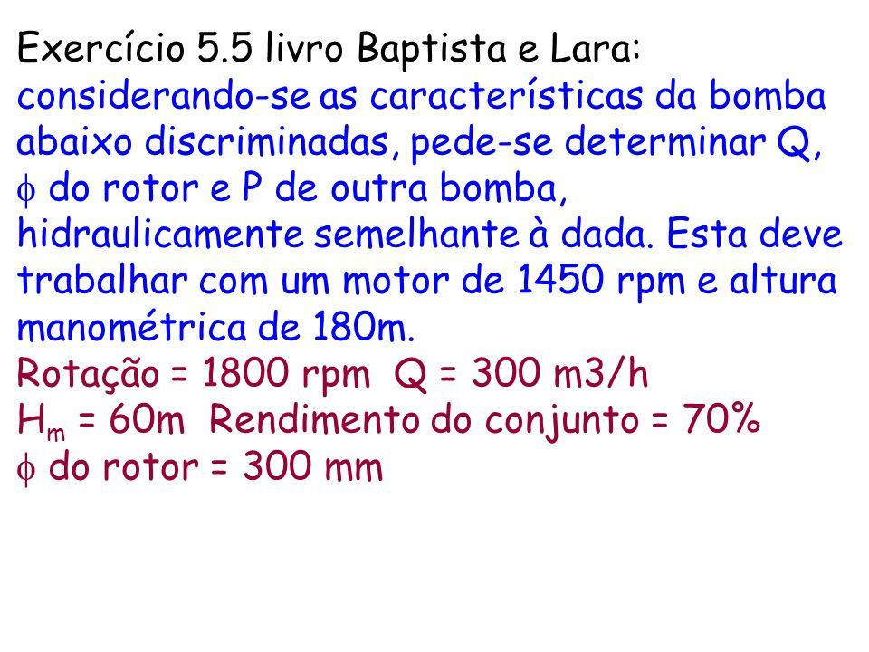 Exercício 5.5 livro Baptista e Lara: considerando-se as características da bomba abaixo discriminadas, pede-se determinar Q, f do rotor e P de outra bomba, hidraulicamente semelhante à dada. Esta deve trabalhar com um motor de 1450 rpm e altura manométrica de 180m.