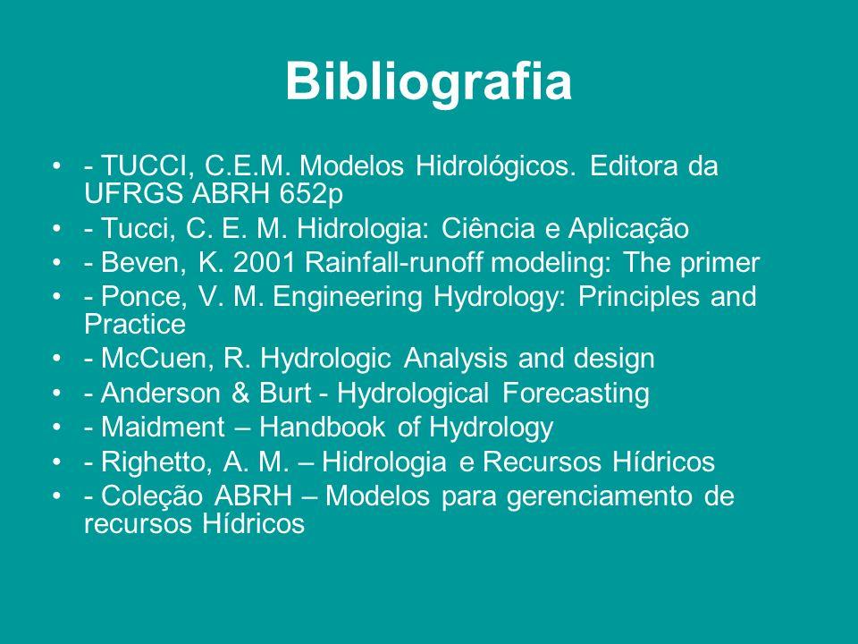 Bibliografia - TUCCI, C.E.M. Modelos Hidrológicos. Editora da UFRGS ABRH 652p. - Tucci, C. E. M. Hidrologia: Ciência e Aplicação.