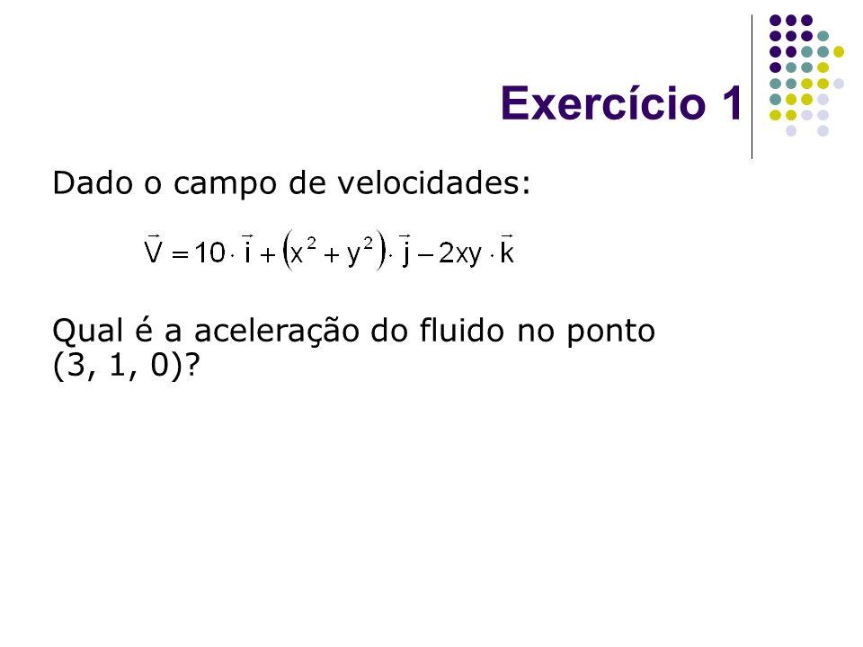 Exercício 1 Dado o campo de velocidades: