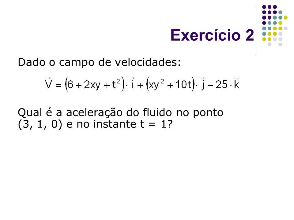 Exercício 2 Dado o campo de velocidades: