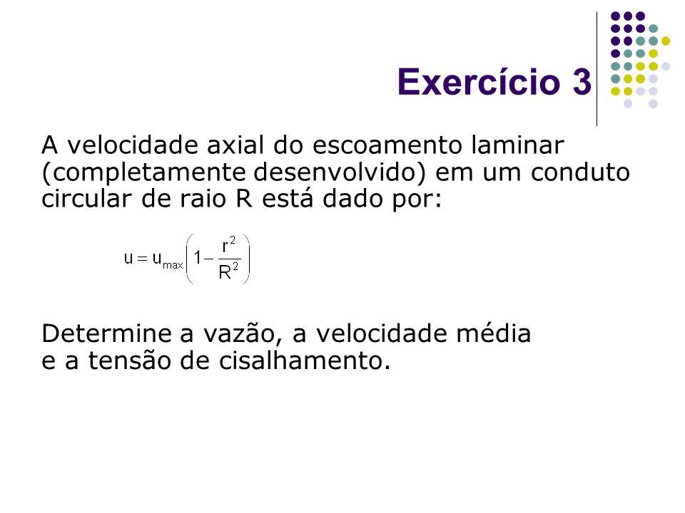 Exercício 3 A velocidade axial do escoamento laminar (completamente desenvolvido) em um conduto circular de raio R está dado por: