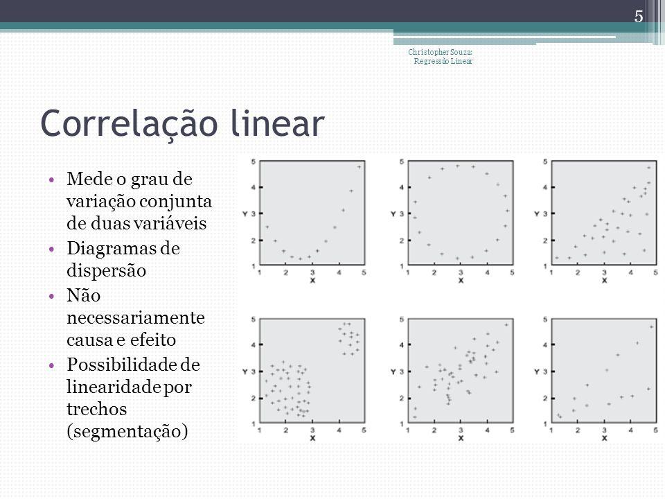 Correlação linear Mede o grau de variação conjunta de duas variáveis