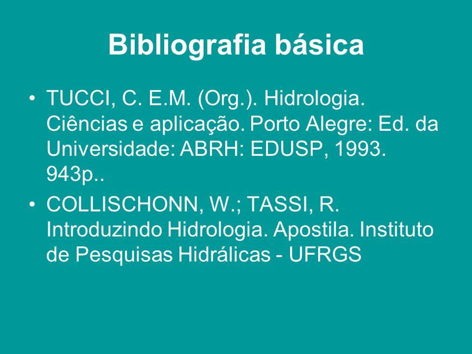 Bibliografia básica TUCCI, C. E.M. (Org.). Hidrologia. Ciências e aplicação. Porto Alegre: Ed. da Universidade: ABRH: EDUSP, 1993. 943p..