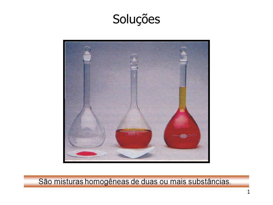São misturas homogêneas de duas ou mais substâncias.
