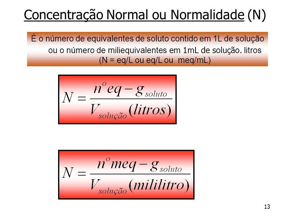 Concentração Normal ou Normalidade (N)