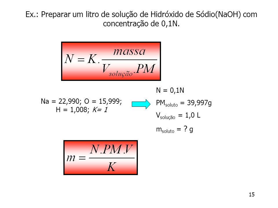 Ex.: Preparar um litro de solução de Hidróxido de Sódio(NaOH) com concentração de 0,1N.