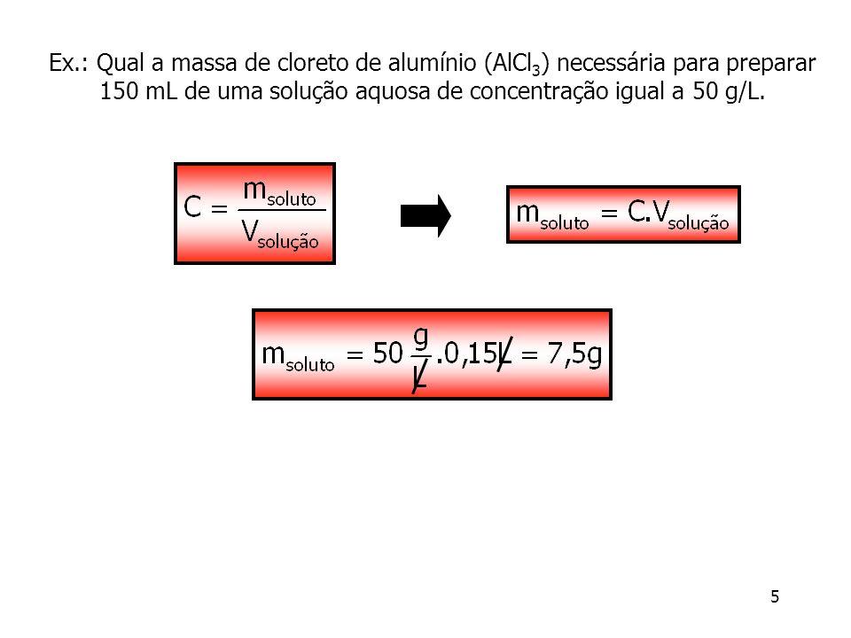 Ex.: Qual a massa de cloreto de alumínio (AlCl3) necessária para preparar 150 mL de uma solução aquosa de concentração igual a 50 g/L.