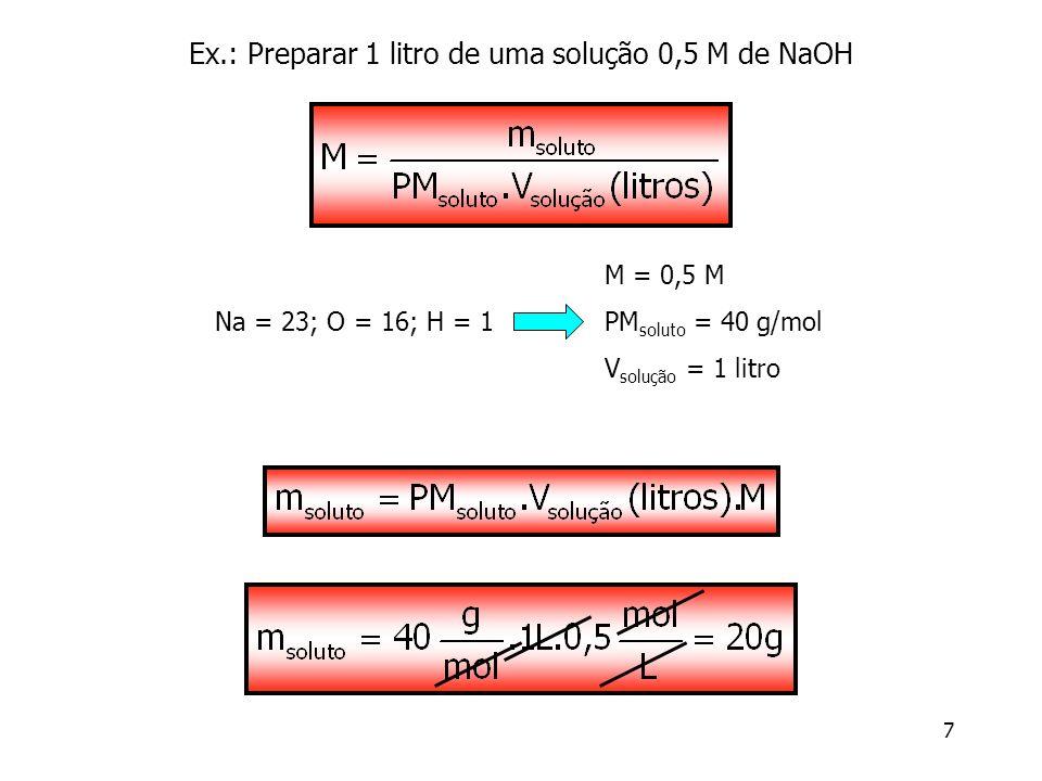 Ex.: Preparar 1 litro de uma solução 0,5 M de NaOH