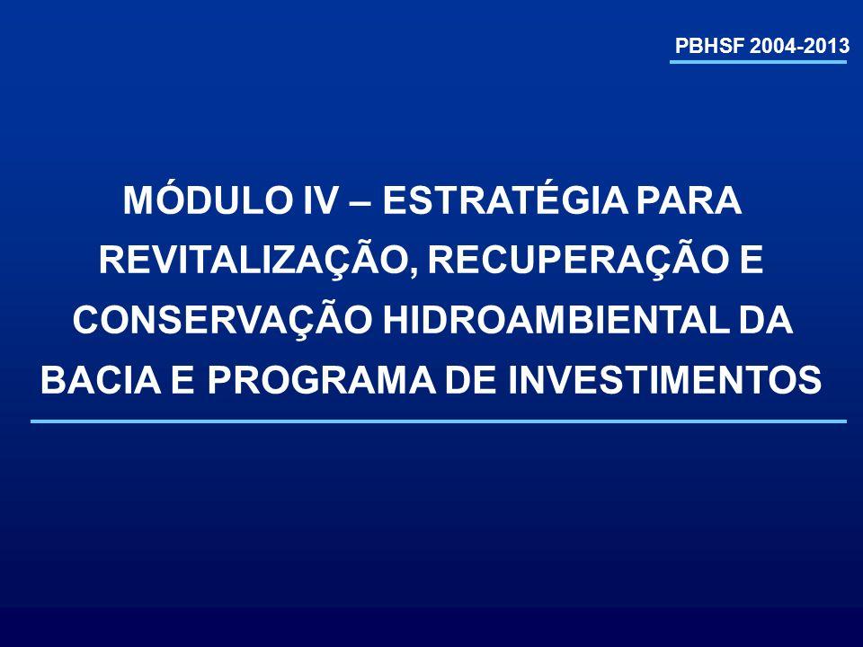 PBHSF 2004-2013MÓDULO IV – ESTRATÉGIA PARA REVITALIZAÇÃO, RECUPERAÇÃO E CONSERVAÇÃO HIDROAMBIENTAL DA BACIA E PROGRAMA DE INVESTIMENTOS.