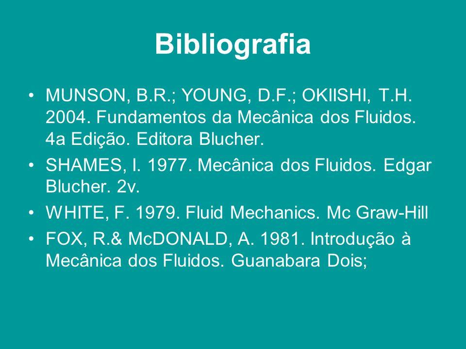 Bibliografia MUNSON, B.R.; YOUNG, D.F.; OKIISHI, T.H. 2004. Fundamentos da Mecânica dos Fluidos. 4a Edição. Editora Blucher.