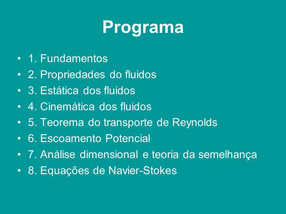 Programa 1. Fundamentos 2. Propriedades do fluidos