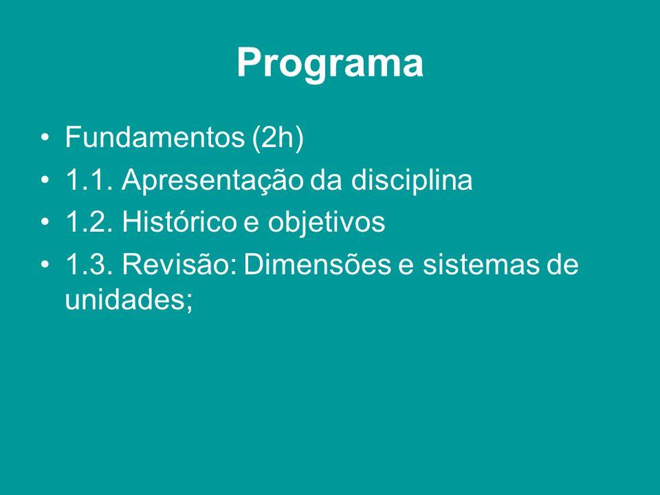 Programa Fundamentos (2h) 1.1. Apresentação da disciplina