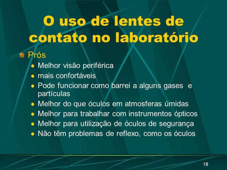 O uso de lentes de contato no laboratório