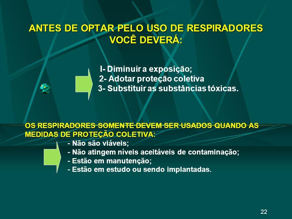 ANTES DE OPTAR PELO USO DE RESPIRADORES VOCÊ DEVERÁ: