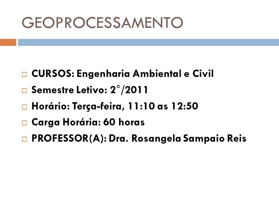 GEOPROCESSAMENTO CURSOS: Engenharia Ambiental e Civil