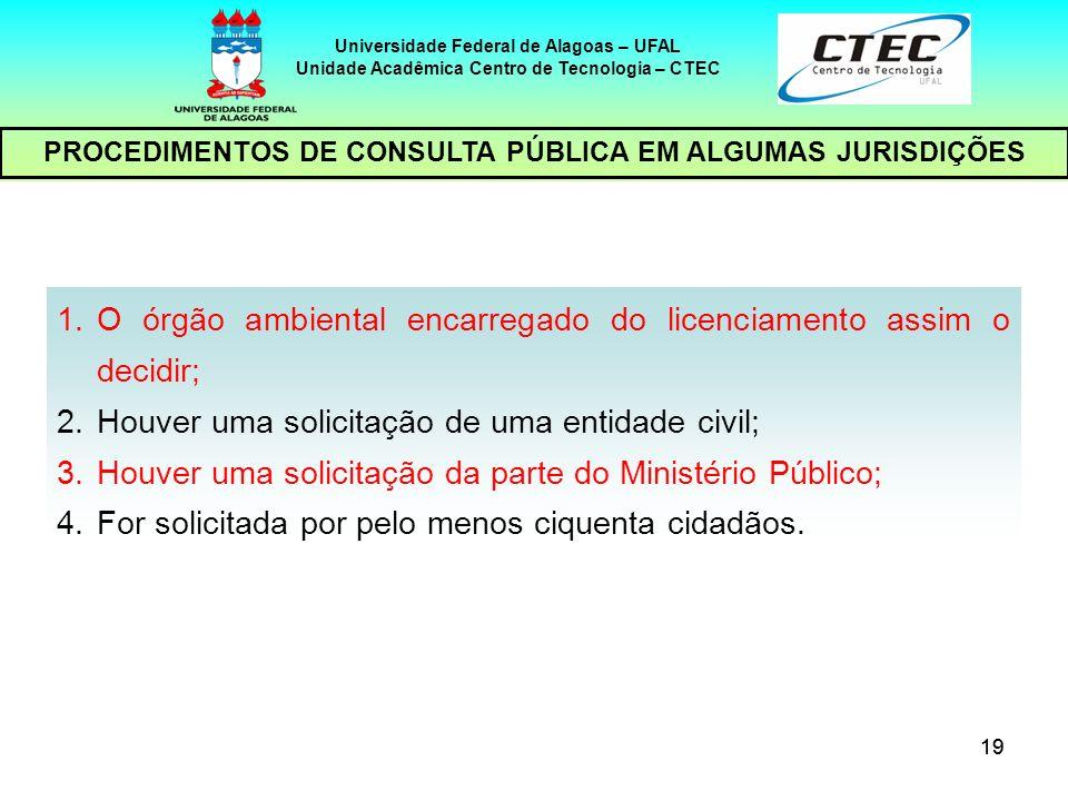 O órgão ambiental encarregado do licenciamento assim o decidir;