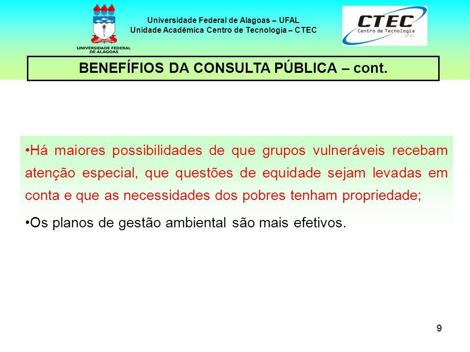 BENEFÍFIOS DA CONSULTA PÚBLICA – cont.