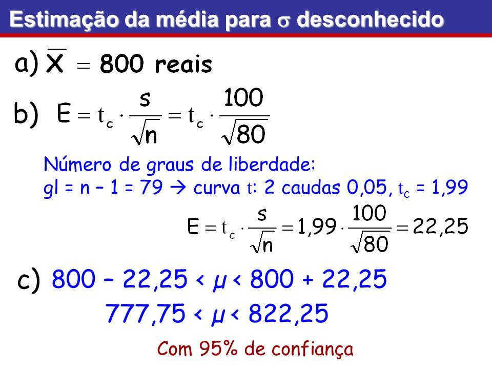 b) c) 800 – 22,25 < µ < 800 + 22,25 777,75 < µ < 822,25