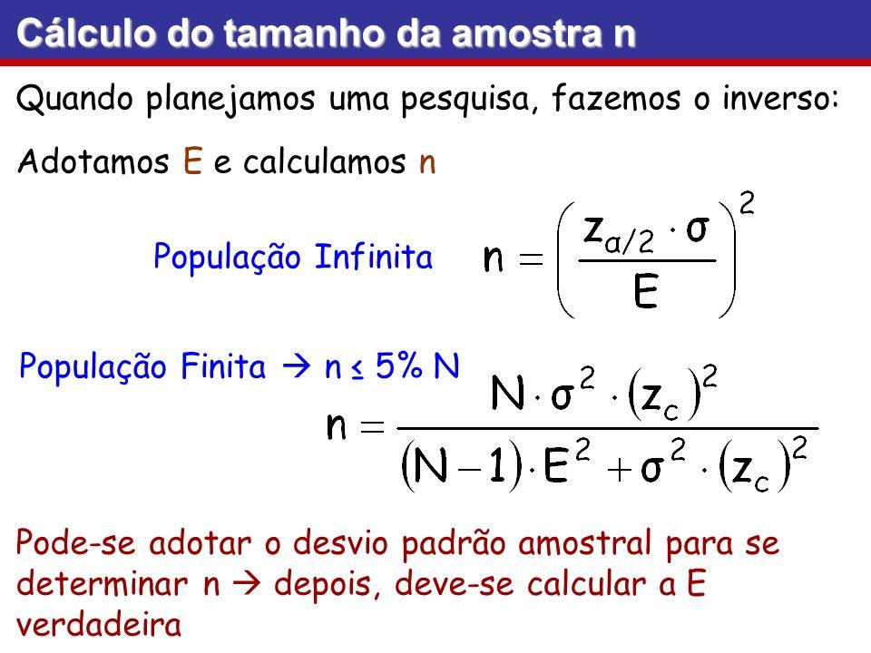 Cálculo do tamanho da amostra n