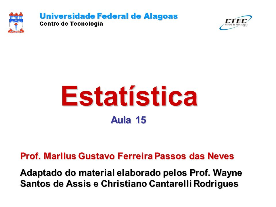 Estatística Aula 15 Prof. Marllus Gustavo Ferreira Passos das Neves
