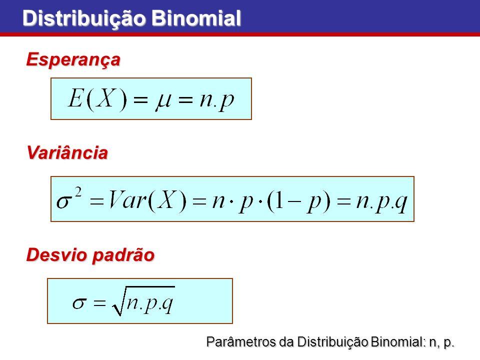 Parâmetros da Distribuição Binomial: n, p.