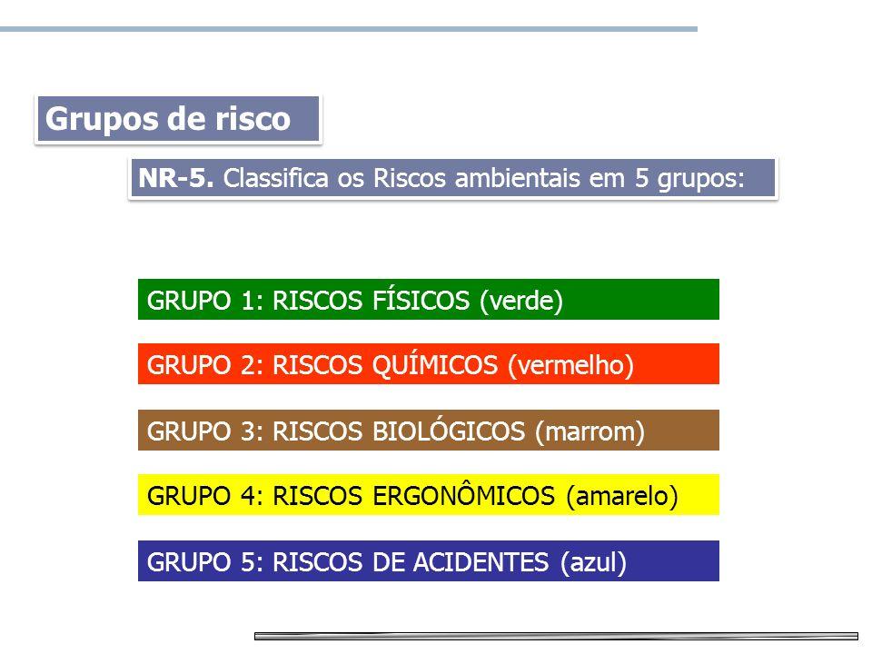 Grupos de risco NR-5. Classifica os Riscos ambientais em 5 grupos: