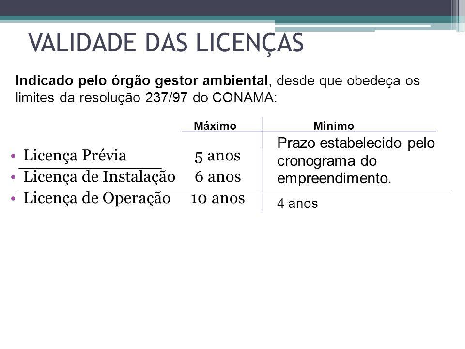 VALIDADE DAS LICENÇAS Licença Prévia 5 anos