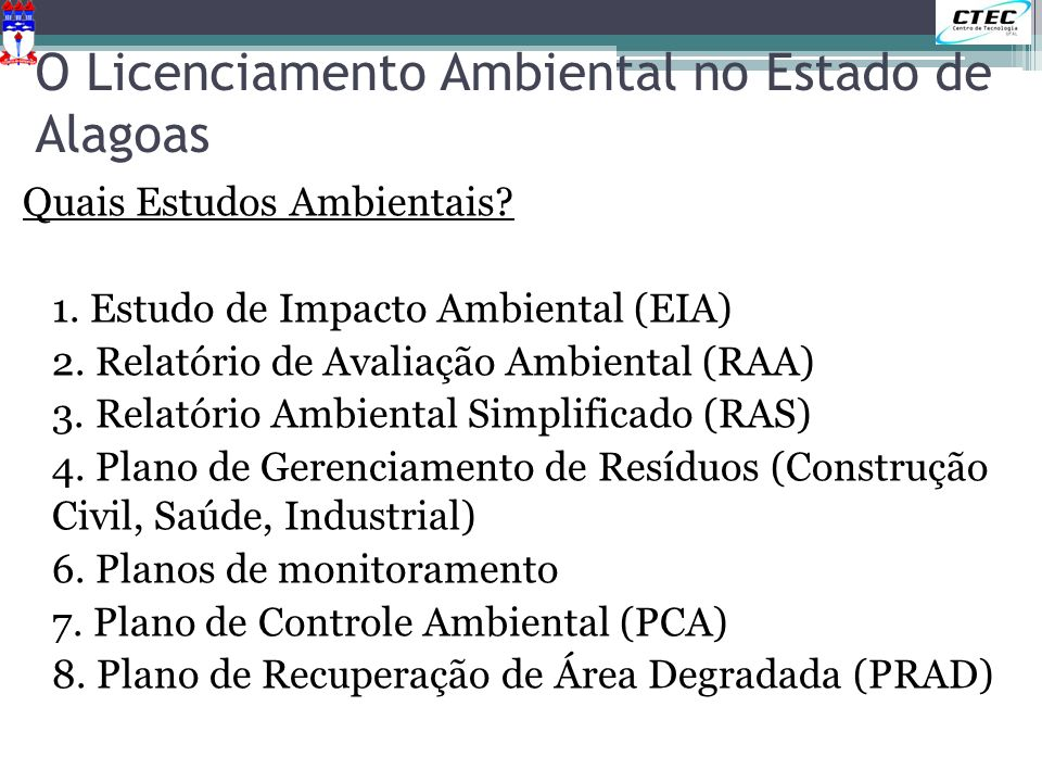O Licenciamento Ambiental no Estado de Alagoas
