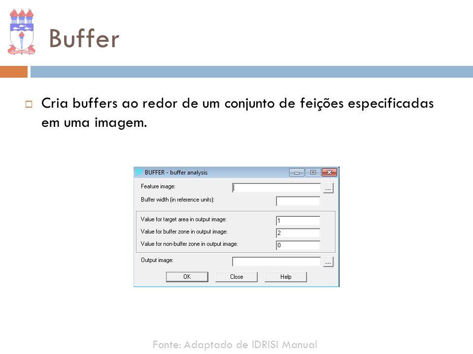 Buffer Cria buffers ao redor de um conjunto de feições especificadas em uma imagem.