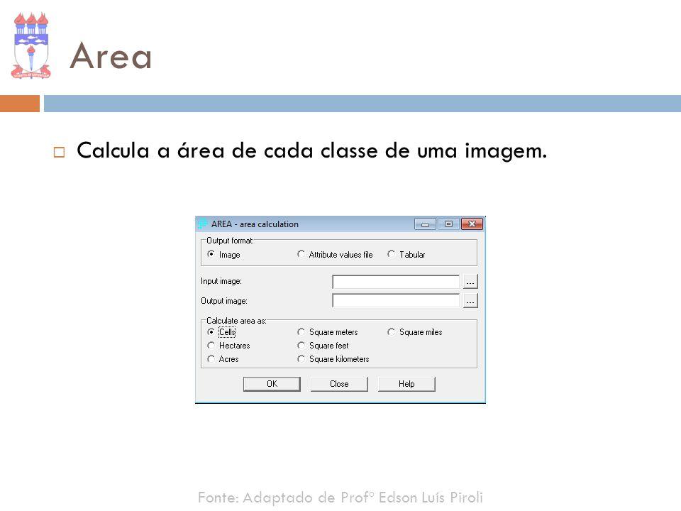 Area Calcula a área de cada classe de uma imagem.