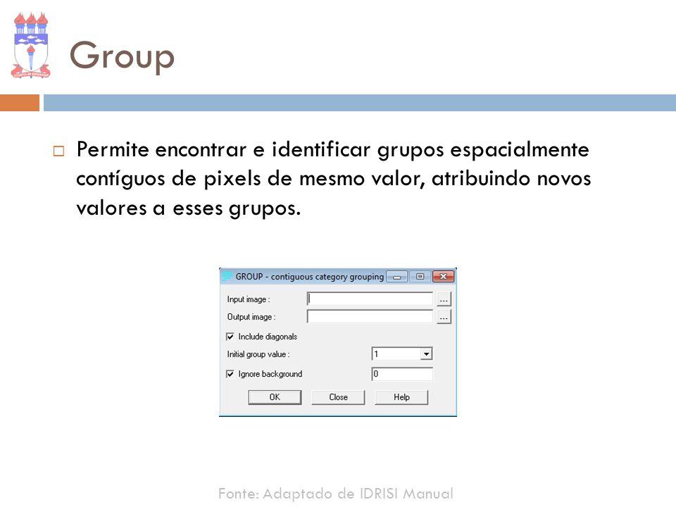 Group Permite encontrar e identificar grupos espacialmente contíguos de pixels de mesmo valor, atribuindo novos valores a esses grupos.