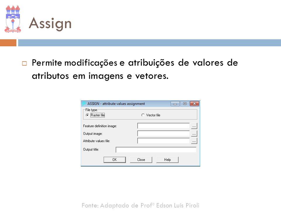 Assign Permite modificações e atribuições de valores de atributos em imagens e vetores.