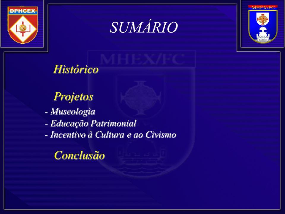 SUMÁRIO Histórico Projetos - Museologia Conclusão