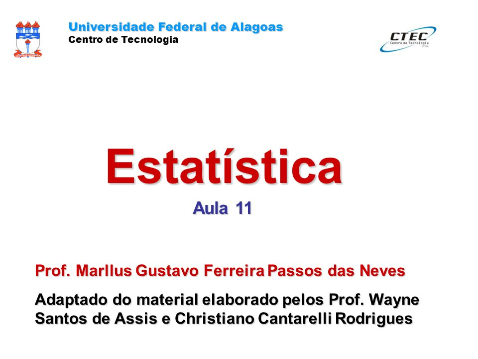 Estatística Aula 11 Prof. Marllus Gustavo Ferreira Passos das Neves
