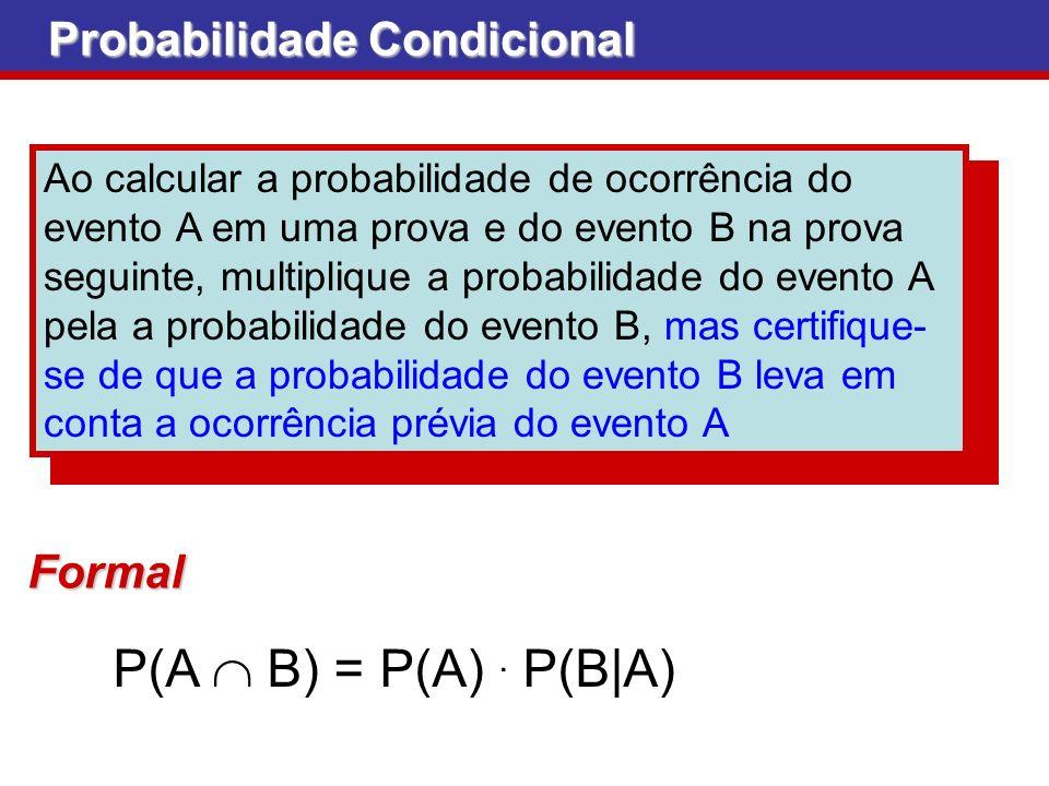 P(A  B) = P(A) . P(B|A) Probabilidade Condicional Formal