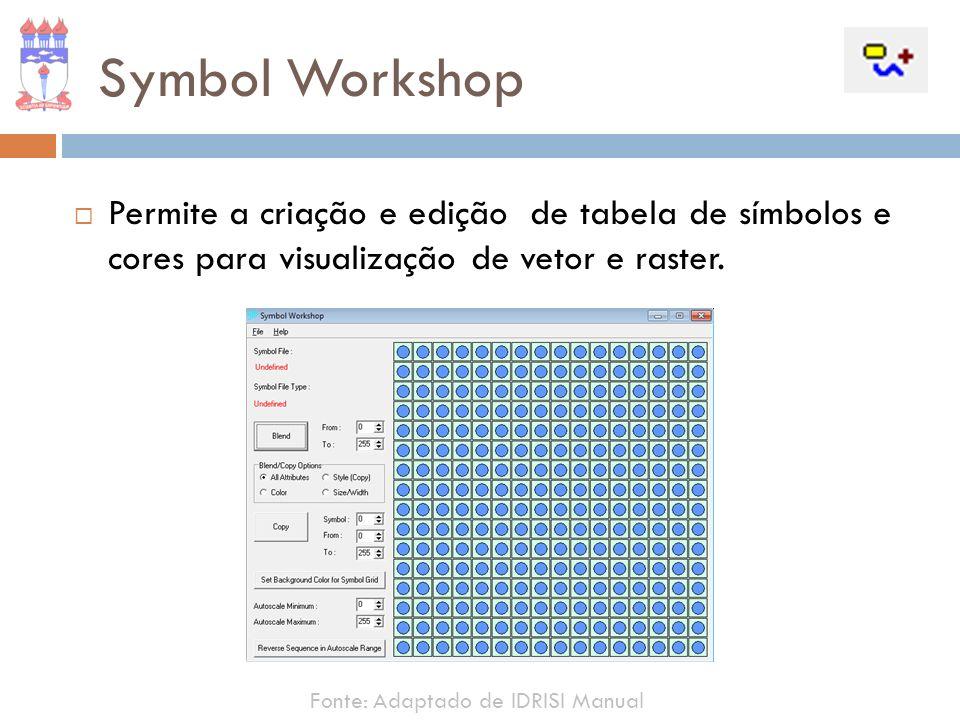 Symbol WorkshopPermite a criação e edição de tabela de símbolos e cores para visualização de vetor e raster.