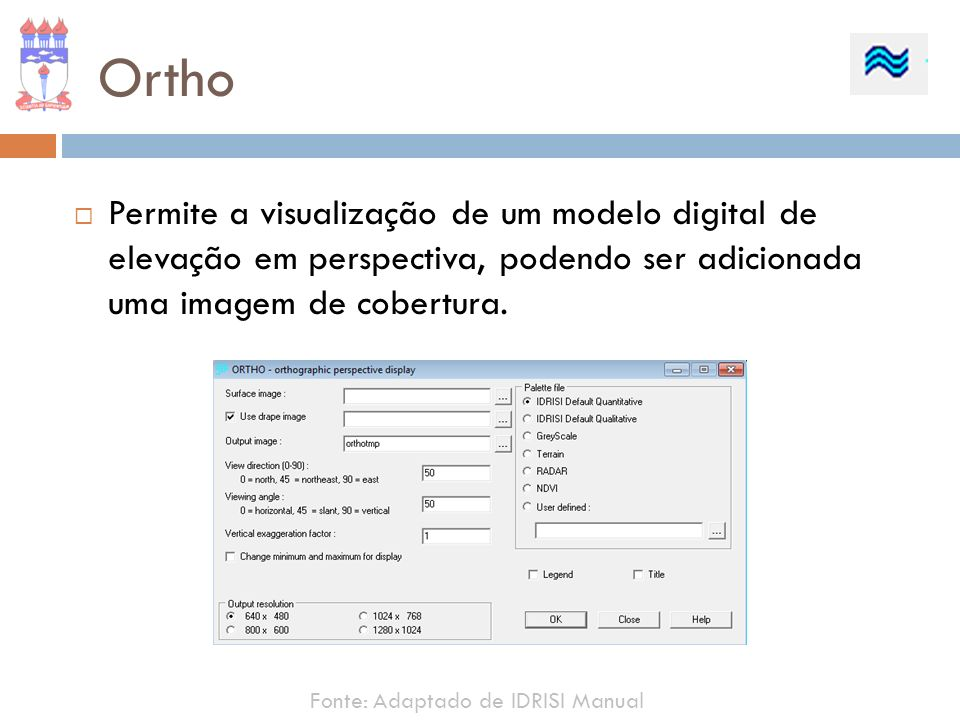 Ortho Permite a visualização de um modelo digital de elevação em perspectiva, podendo ser adicionada uma imagem de cobertura.