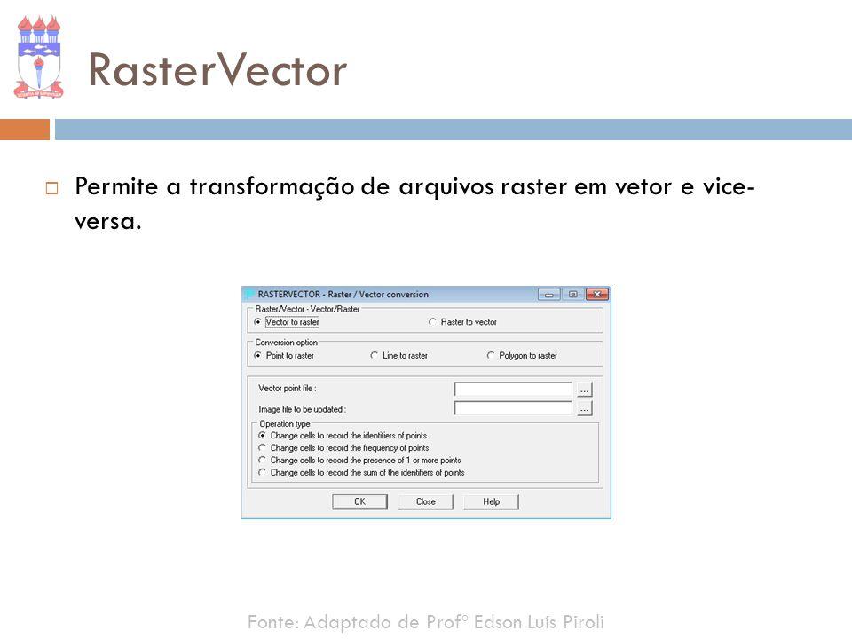 RasterVector Permite a transformação de arquivos raster em vetor e vice- versa.