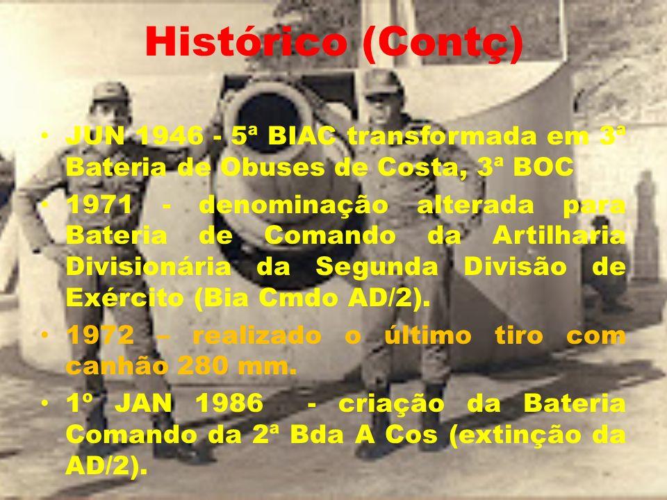 Histórico (Contç) JUN 1946 - 5ª BIAC transformada em 3ª Bateria de Obuses de Costa, 3ª BOC.