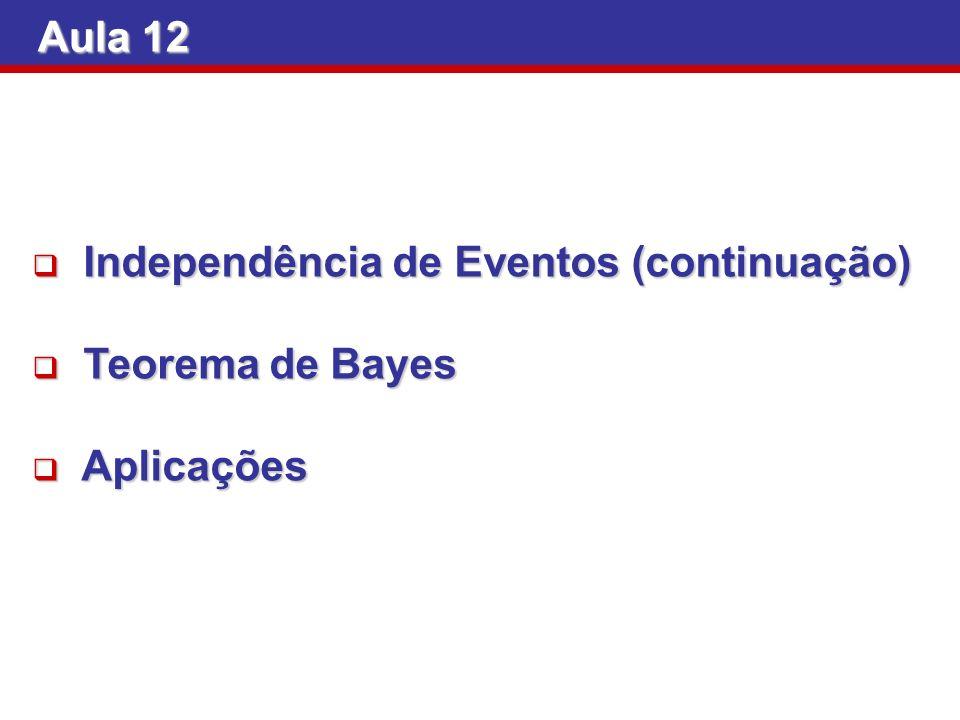 Aula 12 Independência de Eventos (continuação) Teorema de Bayes Aplicações