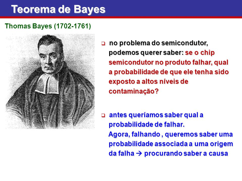 Teorema de Bayes Thomas Bayes (1702-1761) no problema do semicondutor,