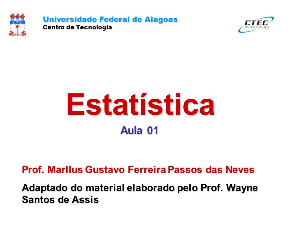 Estatística Aula 01 Prof. Marllus Gustavo Ferreira Passos das Neves