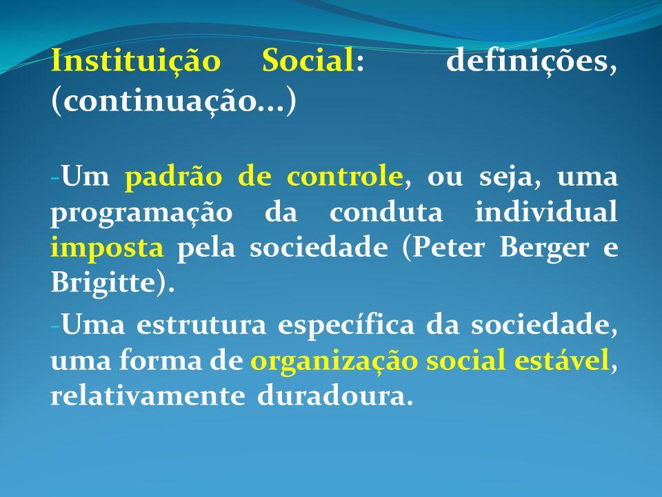 Instituição Social: definições, (continuação...)